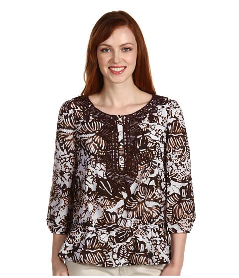 "Tricouri Jones New York - 3/4 Sleeve Embroidered Shirt 24 1/2\"" - Root Beer"
