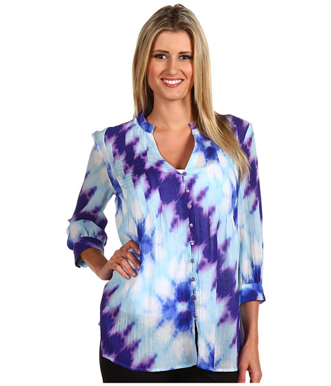 Bluze Jones New York - 3/4 Sleeve Pleated Tunic Blouse - Tropic Blue
