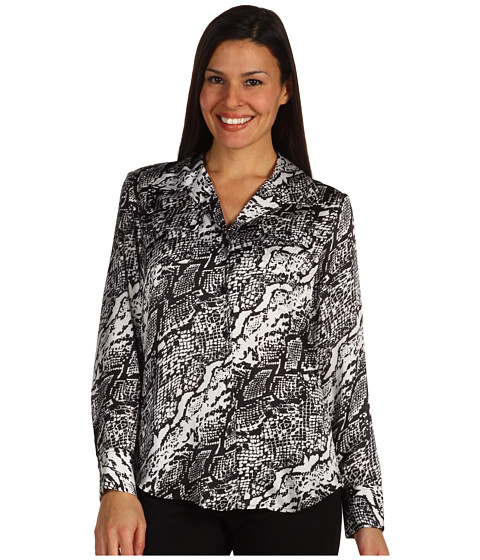 Tricouri Jones New York - L/S Blouse w/ Chest Pockets - Black/Sugar