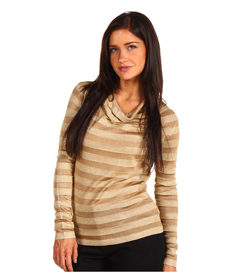 Tricouri Jones New York - Petite Draped L/S Pullover - Frosted Gold