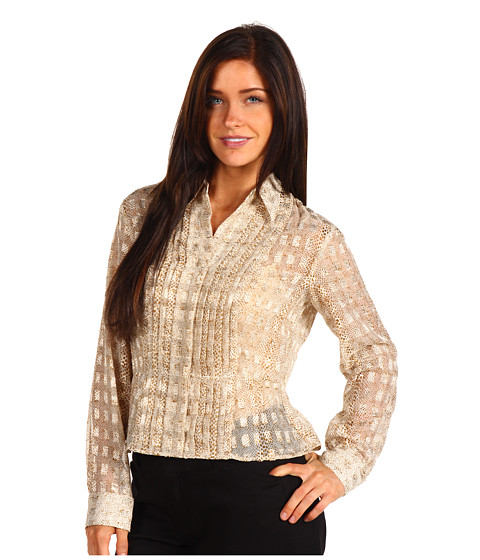 Tricouri Jones New York - Petite Pleated L/S Shirt - Frosted Gold