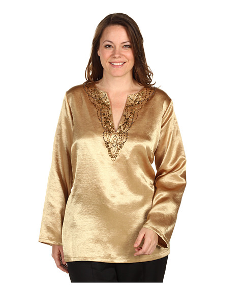 Tricouri Jones New York - Plus Size L/S Embellished Tunic - Frosted Gold