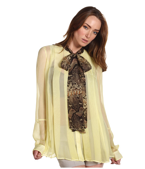 Bluze Just Cavalli - Pleated A-Line Blouse with Python Tie Neck - Yellow