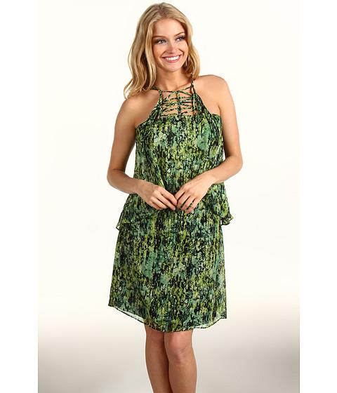 Rochii BCBGMAXAZRIA - Kaia Tiered Silk Dress - Evergreen Combo