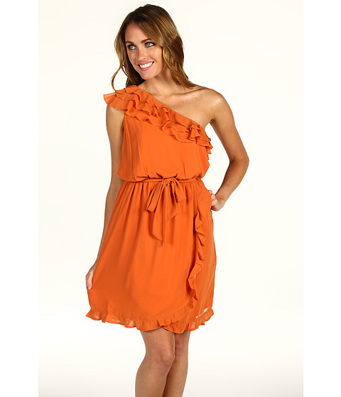 Rochii Jessica Simpson - One Shoulder Ruffle Dress w/ Self Tie - Rust