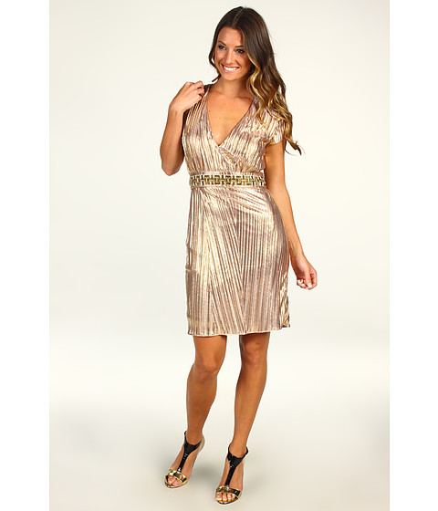 Rochii Badgley Mischka - Pleated Tie Dress - Rose Gold