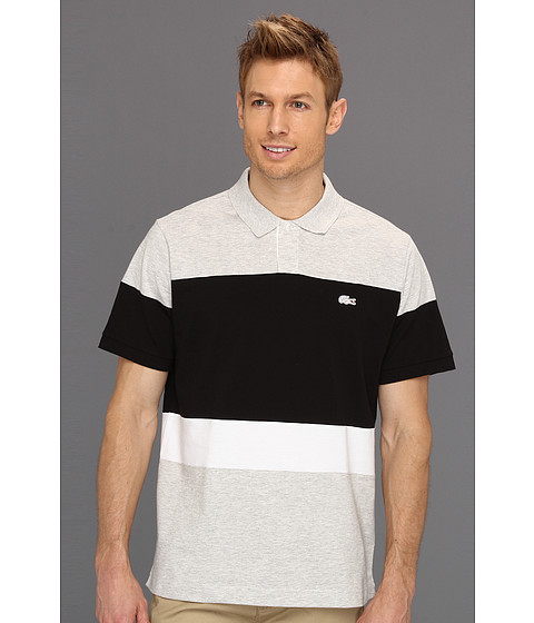 Tricouri Lacoste - S/S Super Light Colorblock Polo - Fog Grey Chine/White/Black