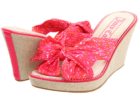 Papuci Juicy Couture - Bow Wedge - Pink Scarf Printed Poplin/Pink Patent