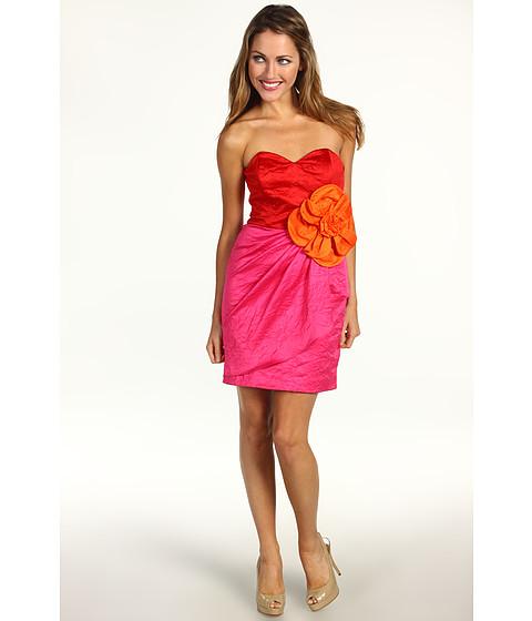 Rochii Badgley Mischka - Strapless Flower Dress - Red Multi