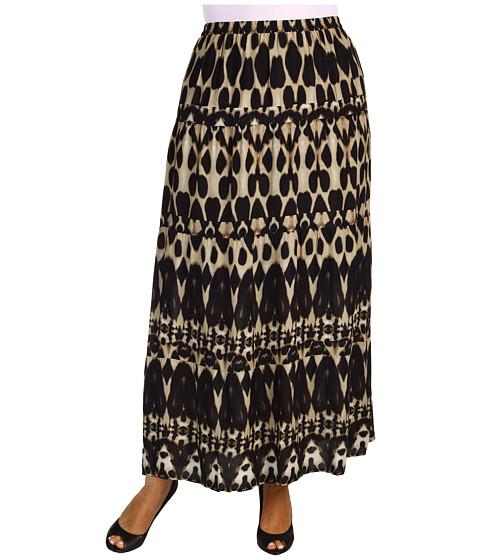 Fuste Calvin Klein - Plus Size Mirrored Animal Printed Peasant Skirt - Black/Dark Khaki Multi
