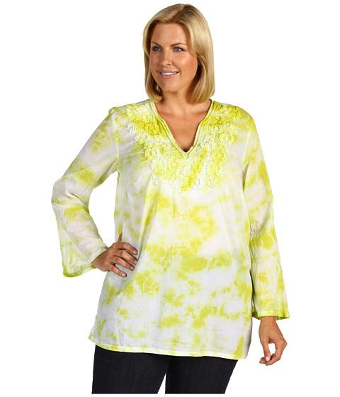 Bluze Michael Kors - Plus Size Embroidered Tie Dye Tunic - Fresh Lime