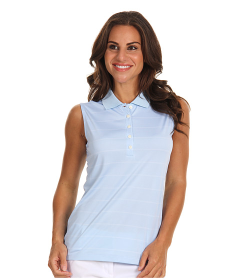 Bluze Nike - Sleeveless Nike Tech Stripe Polo - Ice Blue/White/Ice Blue