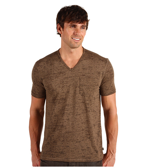 Tricouri John Varvatos - S/S Pick Stitch Vee - Light Brown Heather