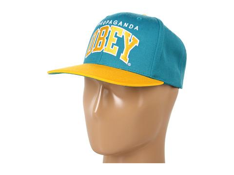 Sepci Obey - Throwback Snapback Hat - Aqua/Gold