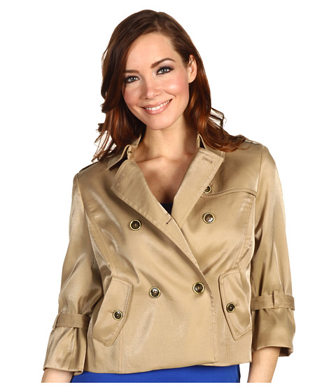 Jachete Anne Klein - Luster Cloth Cropped Trench Coat - Gold