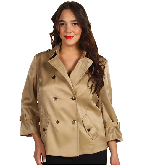 Jachete Anne Klein - Plus Size Luster Cropped Trench Coat - Gold