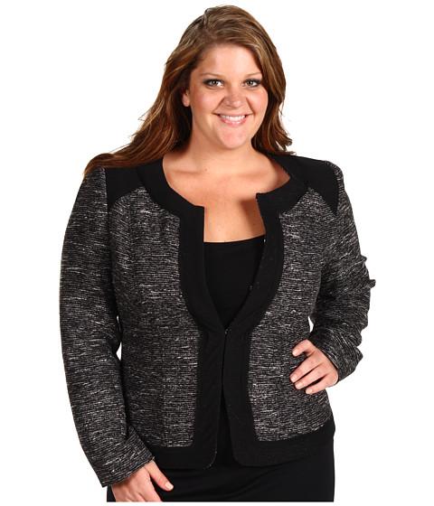 Jachete Anne Klein - Plus Size Texture Jewel Neck Jacket - Black/White