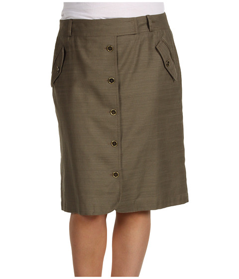 Fuste Anne Klein - Plus Size Slubby Texture Button Front Skirt - Clay