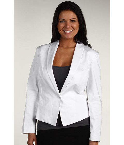 Jachete Anne Klein - Plus Size One Button Jacket w/ Buckle Detail - White