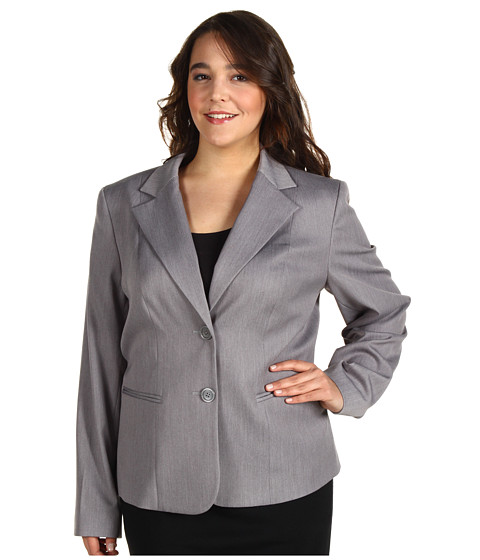 Jachete Anne Klein - Plus Size Two Button Blazer - Pale Grey Heather