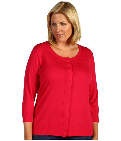 Pulovere Anne Klein - Plus Size 3/4 Sleeve Cardi w/ Pointelle Detail - Rouge