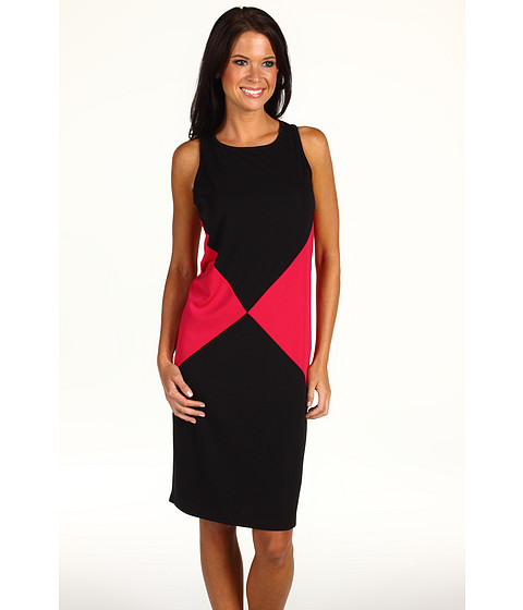 Rochii Anne Klein - Colorblock Dress - Black/Rouge Multi