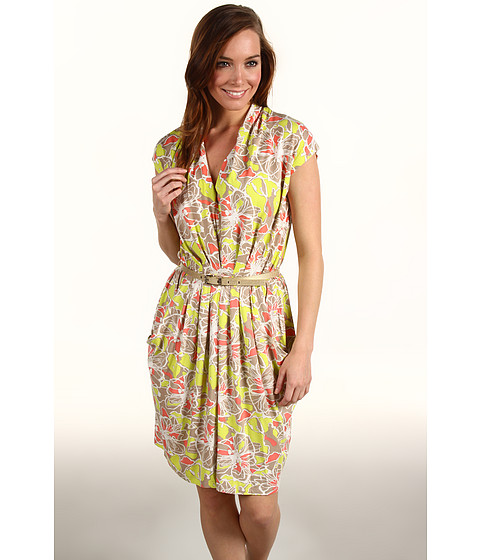 Rochii Anne Klein - Floral Print Dress - Lime Sorbet Multi