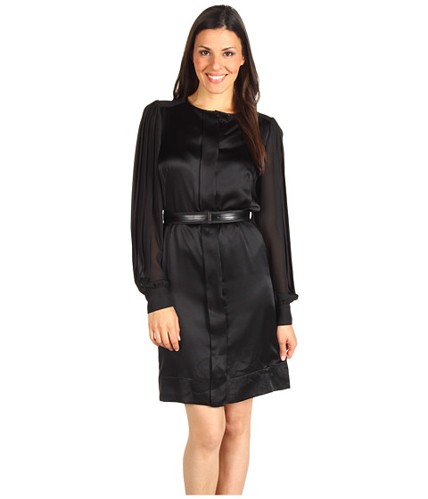 Rochii Anne Klein New York - Jewel Neck Pleated Sleeve Dress - B. Black