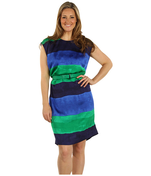 Rochii Anne Klein - Plus Size Ombre Stripe Wedge Dress - Multi
