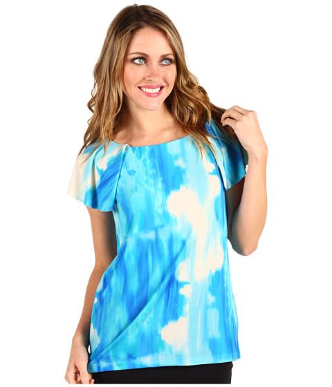 Tricouri Anne Klein - Lion Print Flutter Sleeve Top - Azul Multi