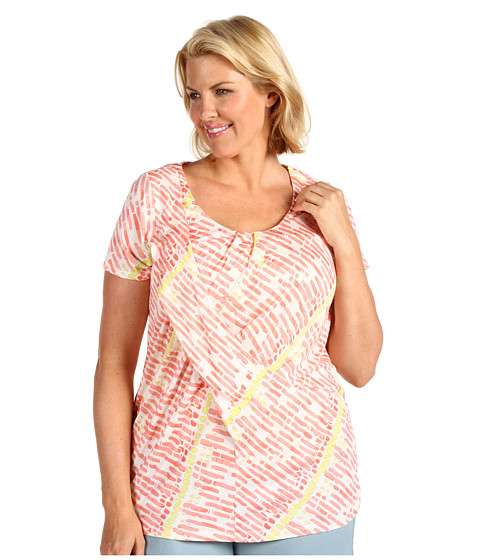 Tricouri Anne Klein - Plus Size S/S Scoop Neck Cross Draped Front Top - Papaya