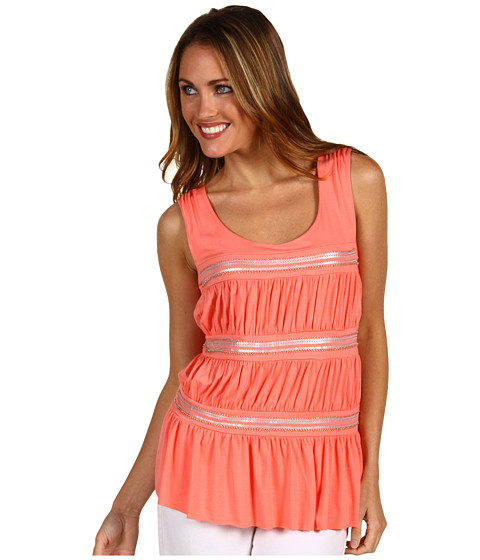 Bluze Anne Klein - Sleeveless Scoop Neck Tank w/ Ruching - Papaya