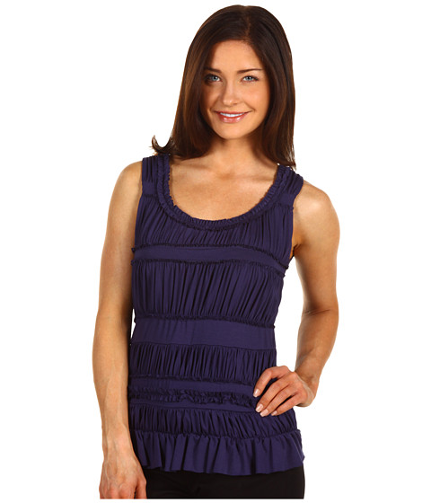 Bluze Anne Klein New York - Petite Front Body Ruffle Detail Top - Ink Blue