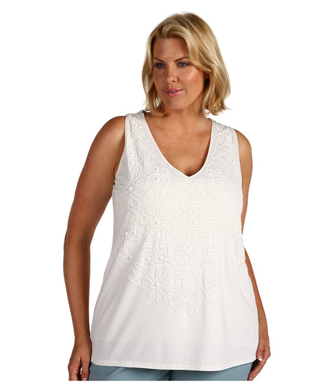 Bluze Anne Klein - Plus Size Sleeveless V-Neck Beaded Front Tank - Sugar