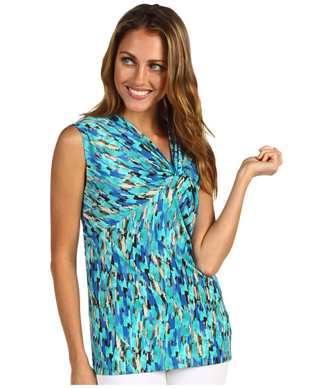 Bluze Anne Klein - Abstract Print Twist Front Top - Azul Multi