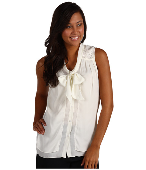 Bluze Anne Klein - Bow Blouse w/ Lace - Sugar