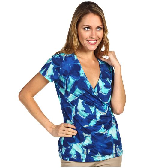 Bluze Anne Klein - Multi Floral Wrap Front Top - Azul Multi