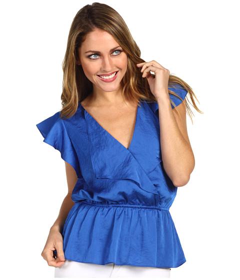 "Bluze Anne Klein - Ruffle Front Blouse (22\"" CB) - Azul"