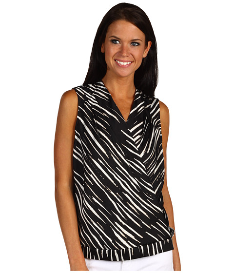 Bluze Anne Klein - Zebra Print Drape Sleeveless Blouse - Black/Sugar