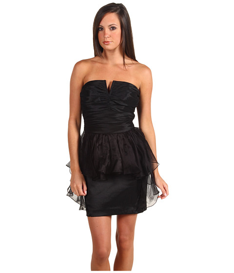Rochii Badgley Mischka - Mark & James Shirred Mini W/ Ruffle - Black