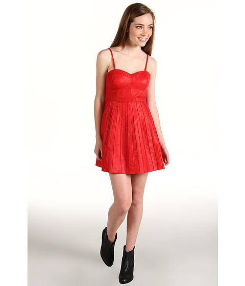 Rochii Free People - Vegan Leather Pleated Dress - Scarlet