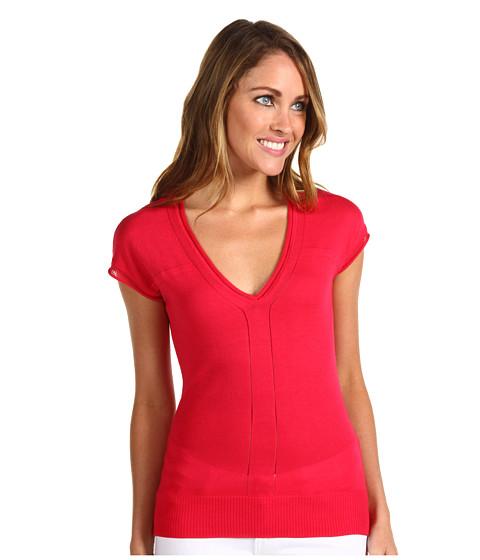 Tricouri Anne Klein - Cap Sleeve Pullover w/ Pointelle Detail - Rouge