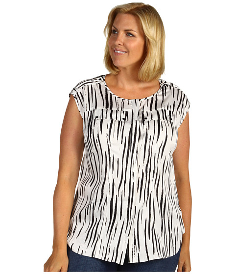 Tricouri Anne Klein - Plus Size Zebra Print Camp Shirt - Sugar/Black