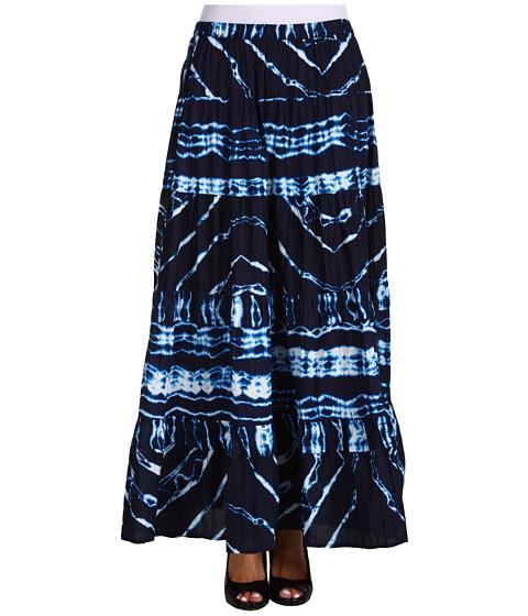 Fuste Jones New York - Tiered Broomstick Printed Stripe Tie Dye Skirt - Persian Navy Multi