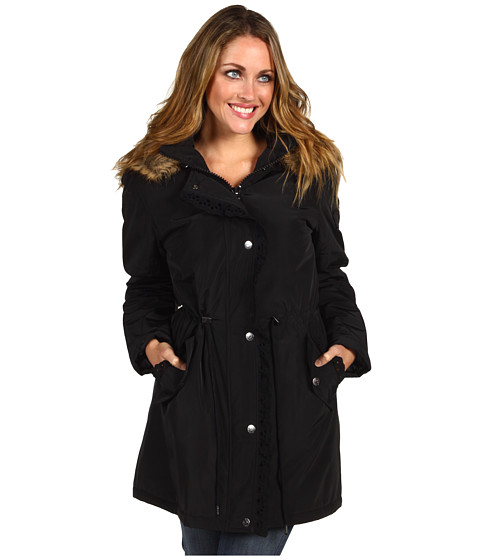 Jachete Betsey Johnson - 3/4 Anorak w/ Eyelet Detail and Fur Trimmed Sherpa Lined Hood - Black