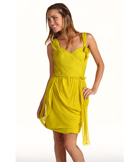 Rochii Vera Wang - Crinkled Chiffon Off Shoulder Dress - Chartreuse