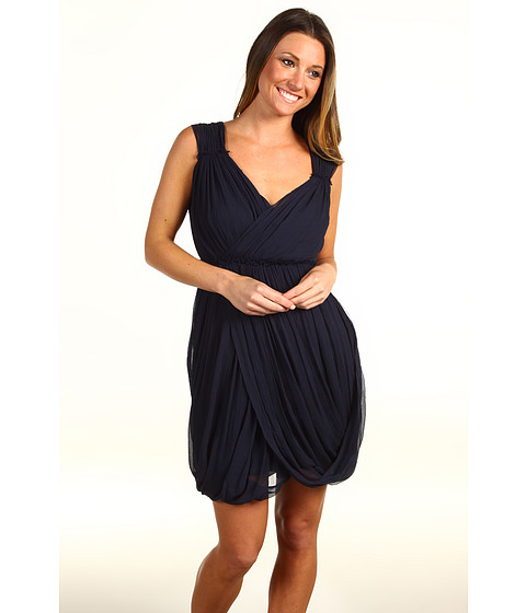 Rochii Vera Wang - Crinkled Chiffon Sleeveless Draped Dress - Navy