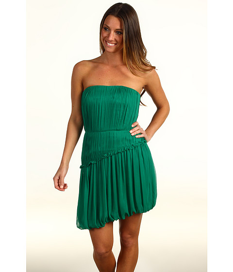 Rochii Vera Wang - Crinkled Chiffon Strapless Dress - Emerald