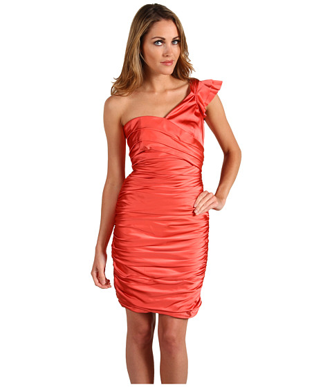 Rochii Vera Wang - Stretch Satin One Shoulder Ruched Dress - Coral