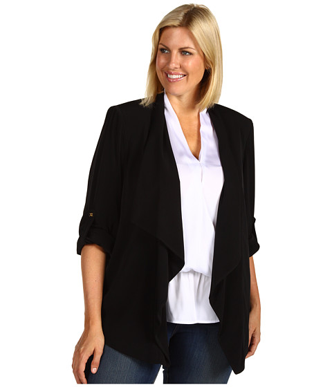 Sacouri Calvin Klein - Plus Size Roll Sleeve Flyaway Jacket - Black